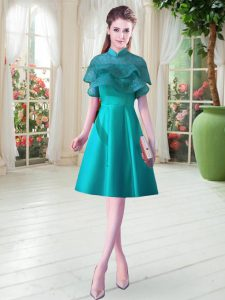 Teal Lace Up Prom Dresses Ruffled Layers Cap Sleeves Knee Length