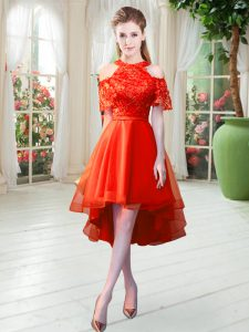 Custom Designed Rust Red Short Sleeves Tulle Zipper Dress for Prom for Prom and Party