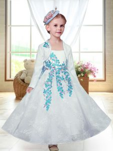 Eye-catching Sleeveless Ankle Length Embroidery Zipper Flower Girl Dresses with White