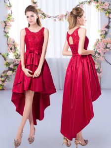 Fancy Red A-line Scoop Sleeveless Satin High Low Lace Up Appliques Quinceanera Dama Dress