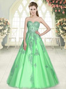 Beauteous Floor Length A-line Sleeveless Green Lace Up
