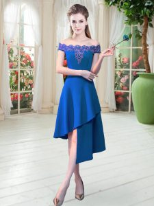 Discount Satin Off The Shoulder Sleeveless Zipper Appliques Prom Dresses in Royal Blue