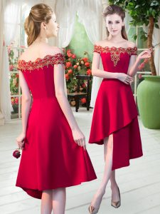Fitting Red Satin Zipper Prom Party Dress Sleeveless Asymmetrical Appliques
