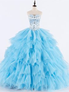 Baby Blue Ball Gowns Tulle Sweetheart Sleeveless Beading and Ruffles Floor Length Lace Up Ball Gown Prom Dress