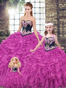 Sweet Fuchsia Sleeveless Embroidery and Ruffles Lace Up Quinceanera Gowns