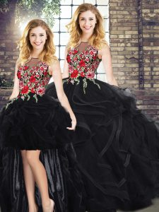 High Quality Black Sleeveless Embroidery and Ruffles Floor Length Quince Ball Gowns