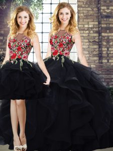 Fashion Black Sleeveless Tulle Lace Up Quinceanera Dress for Sweet 16 and Quinceanera