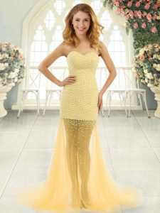 Eye-catching Sleeveless Beading Zipper Evening Dress with Gold Brush Train