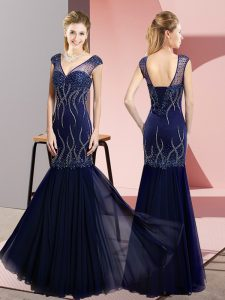 Sophisticated Sleeveless Floor Length Beading Lace Up Evening Party Dresses with Navy Blue