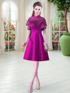 Purple Satin Lace Up High-neck Cap Sleeves Knee Length Prom Dresses Beading