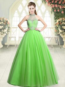 Dramatic Floor Length Tulle Sleeveless Beading