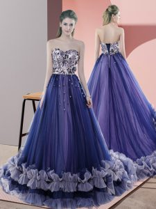 Fashion Sleeveless Sweep Train Beading Lace Up Prom Evening Gown