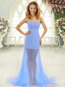 Zipper Dress for Prom Baby Blue for Prom and Party with Beading Brush Train