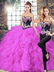 Dazzling Fuchsia Lace Up Sweetheart Beading and Embroidery Sweet 16 Dresses Tulle Sleeveless