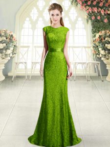 Fantastic Green Backless Dress for Prom Sleeveless Sweep Train Beading and Lace