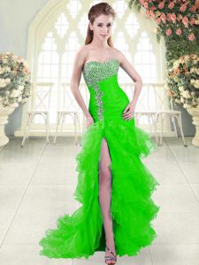 Flirting Green Sleeveless Organza Brush Train Lace Up Prom Gown for Prom and Party