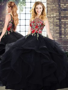 Glamorous Black Zipper Quinceanera Dresses Sleeveless Floor Length Embroidery and Ruffles