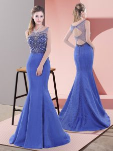Stylish Lace Up Blue for Prom and Party with Beading and Lace Sweep Train