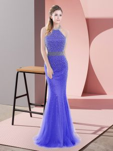 Mermaid Sleeveless Blue Prom Dress Sweep Train Backless