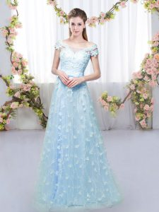 Ideal Floor Length Blue Damas Dress Off The Shoulder Cap Sleeves Lace Up