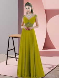 Beauteous V-neck Cap Sleeves Backless Prom Gown Olive Green Chiffon