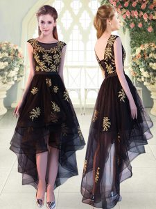 Cap Sleeves Tulle High Low Lace Up Prom Dresses in Black with Appliques