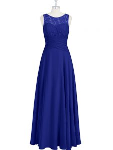 Best Selling Royal Blue Sleeveless Floor Length Lace and Pleated Zipper Evening Dress
