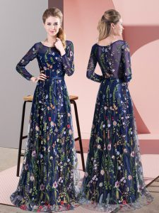 Customized Multi-color Scoop Zipper Pattern Evening Dress Sweep Train Long Sleeves