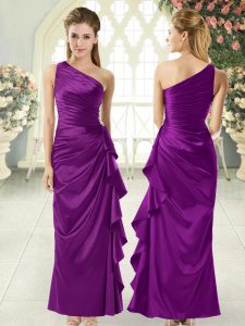 Most Popular Ankle Length Purple Evening Dress One Shoulder Sleeveless Side Zipper
