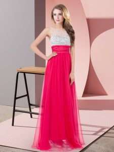Custom Fit Chiffon Scoop Sleeveless Side Zipper Sequins Prom Gown in Coral Red