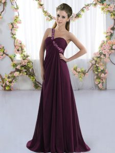 Dark Purple Sleeveless Brush Train Beading Quinceanera Dama Dress