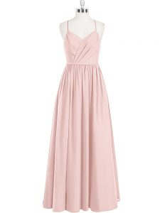 Romantic Chiffon Sleeveless Floor Length and Ruching