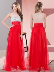 Trendy Sleeveless Floor Length Sequins Side Zipper Prom Dress with Red