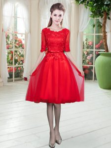 Customized Half Sleeves Tulle Knee Length Lace Up Prom Gown in Red with Lace