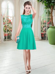 Scalloped Sleeveless Prom Gown Knee Length Lace Turquoise Satin