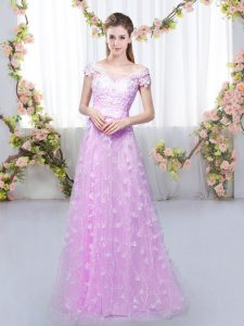 Floor Length Lilac Quinceanera Dama Dress Tulle Cap Sleeves Appliques