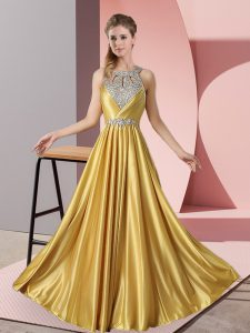 Unique Satin Halter Top Sleeveless Lace Up Beading Dress for Prom in Gold
