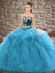 Sleeveless Floor Length Beading and Embroidery Lace Up Sweet 16 Quinceanera Dress with Blue