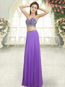 Modest Lavender Sleeveless Floor Length Beading Backless Prom Dresses