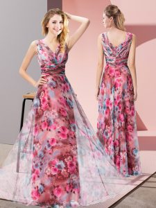 Graceful Floor Length Multi-color Printed Sleeveless Pattern