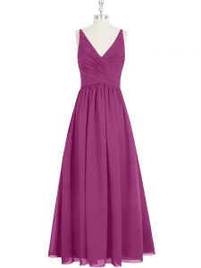 Fuchsia Sleeveless Chiffon Zipper Prom Dresses for Prom and Party and Military Ball
