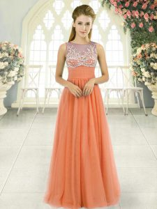 Sleeveless Floor Length Beading Backless Prom Gown with Orange