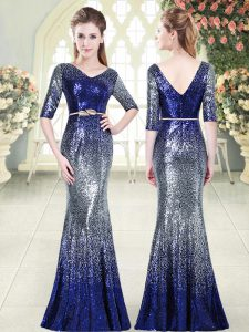Half Sleeves Floor Length Belt Zipper Prom Party Dress with Royal Blue