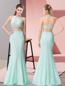 Apple Green Two Pieces Beading Evening Dress Backless Lace Sleeveless Floor Length