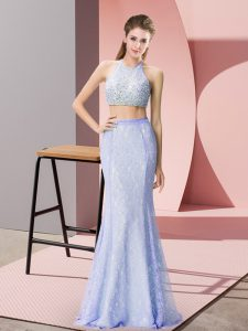 Sleeveless Floor Length Beading and Lace Backless Homecoming Dress with Baby Blue