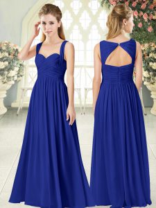 Empire Prom Dresses Royal Blue Straps Chiffon Sleeveless Floor Length Zipper