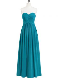 Custom Designed Sleeveless Chiffon Floor Length Zipper Evening Dress in Teal with Ruching