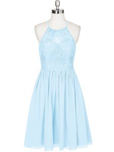Light Blue A-line Lace Dress for Prom Backless Chiffon Sleeveless Mini Length