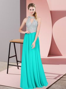 Fantastic Beading and Lace Turquoise Backless Sleeveless Floor Length