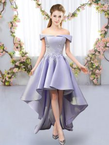 Flare Lavender A-line Off The Shoulder Sleeveless Satin High Low Lace Up Appliques Vestidos de Damas